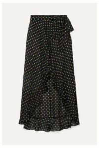 Agent Provocateur - Sidnie Polka-dot Silk-chiffon Wrap Skirt - Black