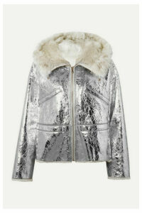 Yves Salomon - Shearling-lined Metallic Crinkled-leather Hooded Jacket - Silver