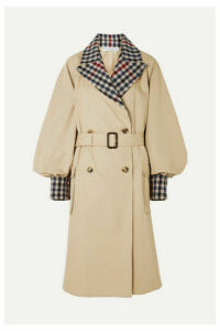 JW Anderson - Belted Checked Wool-blend And Cotton-gabardine Trench Coat - Beige