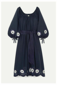 Innika Choo - Frida Wailes Off-the-shoulder Belted Embroidered Cotton-voile Dress - Navy