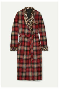 R13 - Leopard-print Crepe-trimmed Checked Wool-blend Coat - Red