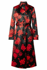 Commission - Belted Floral-print Satin Trench Coat - Black
