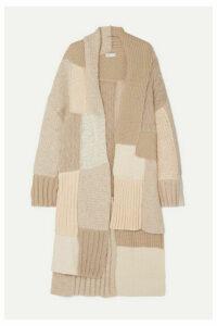 Rosetta Getty - Tie-detailed Patchwork Knitted Cardigan - Beige