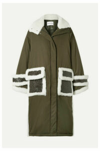 Stand Studio - Adira Oversized Textured-leather And Shearling-trimmed Shell Parka - Army green