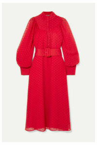 ROTATE Birger Christensen - Belted Fil Coupé Chiffon Midi Dress - Red