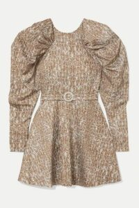 ROTATE Birger Christensen - Belted Gathered Animal-print Matte-satin Mini Dress - Snake print