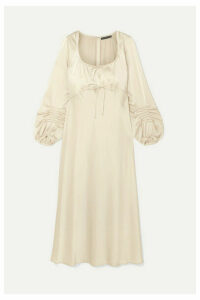 ALEXACHUNG - Phoenix Pintucked Satin Midi Dress - Cream
