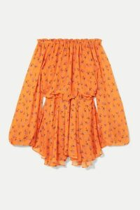ROTATE Birger Christensen - Off-the-shoulder Floral-print Chiffon Mini Dress - Orange