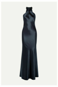 Galvan - Eve Silk-satin Gown - Midnight blue