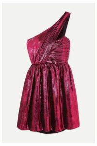 SAINT LAURENT - One-shoulder Lamé Mini Dress - Pink