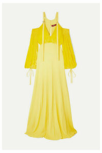 Sies Marjan - Carter Cold-shoulder Georgette And Corduroy Gown - Yellow
