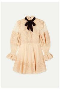 Zimmermann - Espionage Corded Lace And Point D'esprit Tulle Mini Dress - Blush