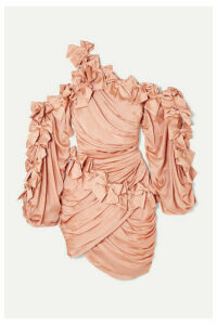 Zimmermann - Sabotage Bow-detailed Draped Silk-satin Mini Dress - Blush