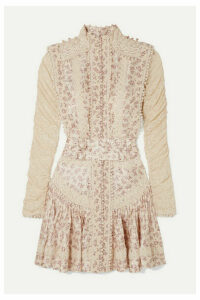 Zimmermann - Sabotage Crochet-trimmed Floral-print Silk-georgette And Lace Mini Dress - Ivory