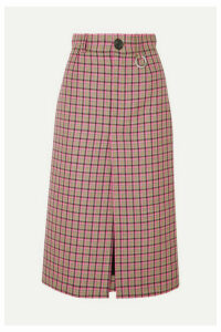 Balenciaga - Checked Wool Midi Skirt - Pink