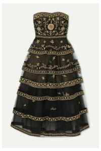 Oscar de la Renta - Strapless Tiered Embroidered Tulle Gown - Gold