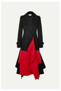 Alexander McQueen - Asymmetric Double-breasted Two-tone Wool And Cashmere-blend Coat - Black