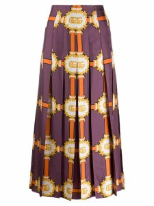 Gucci printed pleat midi skirt - Purple
