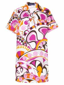 Emilio Pucci printed laced collared dress - PINK