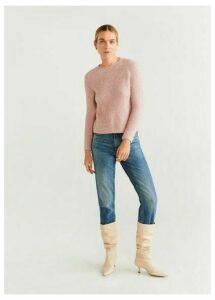 Faux-shearling knit sweater