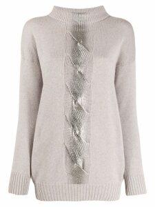 D.Exterior metallic stripe jumper - Grey