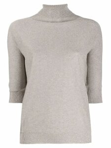 D.Exterior lamé turtleneck jumper - Grey