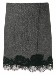 Dondup lace trim straight skirt - Black