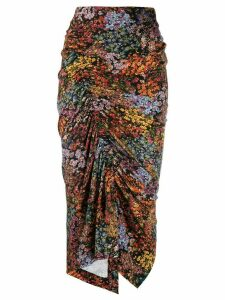 Preen By Thornton Bregazzi Aaliyah floral draped skirt - Black