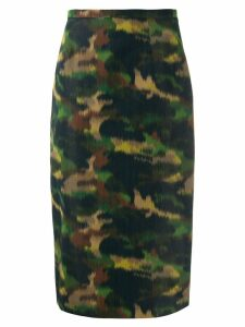 Rochas camo print pencil skirt - Green