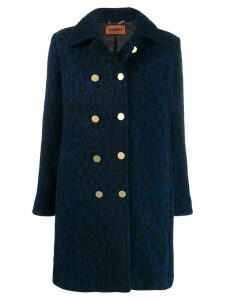 Missoni leopard print double breasted coat - Blue