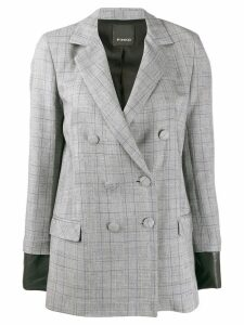 Pinko check print double breasted blazer - Grey
