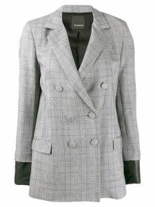 Pinko check print double breasted blazer - Grey