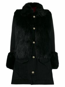 Pinko faux fur trim coat - Black