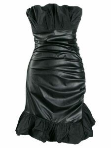 Pinko faux-leather strapless dress - Black