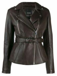 Pinko belted biker jacket - Brown
