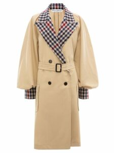 JW Anderson contrast check trench coat - NEUTRALS
