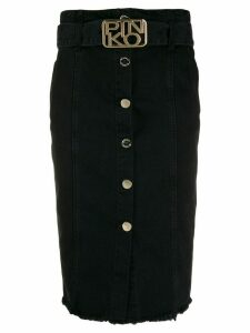 Pinko logo buckle midi skirt - Black