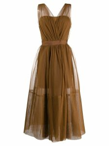 Pinko sheer tulle midi dress - Brown