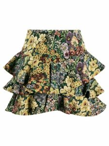 Wandering flower print full skirt - Yellow