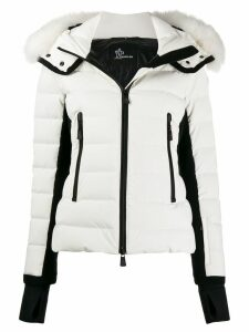 Moncler Grenoble fur trim hooded padded jacket - White