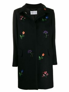 be blumarine flower embroidered coat - Black