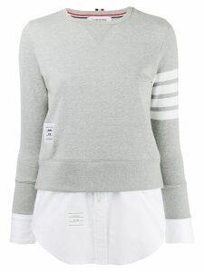 Thom Browne 4-Bar Loopback Jersey Sweatshirt - Grey