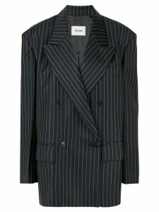 We11done striped double breasted blazer - Black