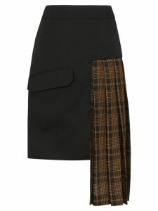 Delada check panelled asymmetric skirt - Black