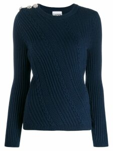 Ganni cable knit jumper - Blue