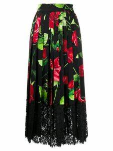 Dolce & Gabbana rose print lace insert skirt - Black