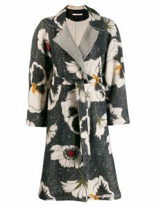 Ermanno Gallamini floral pattern coat - Grey