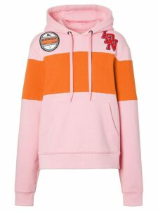 Burberry Logo Graphic Panelled Hoodie - Pink