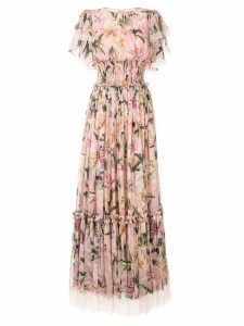 Dolce & Gabbana ruched lilies dress - Pink