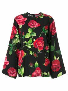 Dolce & Gabbana wide sleeve rose print blouse - Black